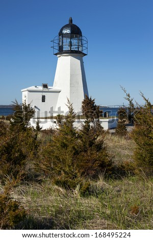 Sandy Point Lighthouse overlooks Narragansett Bay in Rhode Island.