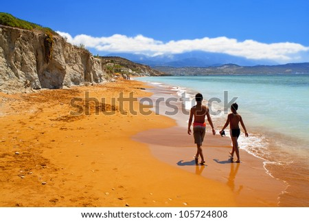 Sandy red beach at Kefalonia island in Greece - stock photo