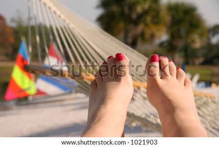 sandy toes on the beach - stock photo