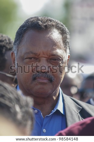 SANFORD, FL-MARCH 26: The Jesse Jackson march in support of Trayvon Martin on March 26, 2012 in Sanford Florida. Trayvon Martin was shot and killed by George Zimmerman on February 26 2012, he was 17.