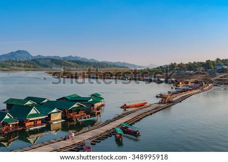 Sangkhla Buri in western region of Thailand, Kanchanaburi province. - stock photo
