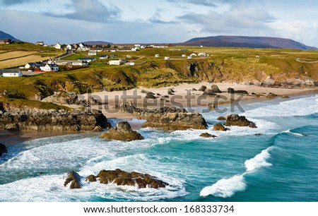 Sango Bay beach at Durness one of scotlands stunning North Atlantic beaches located in the northwest scottish Highlands - stock photo