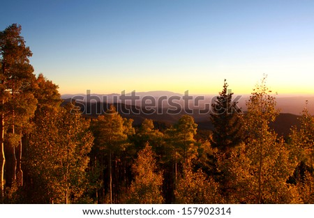 Sangre De Cristo Mountains during autumn located in New Mexico. - stock photo