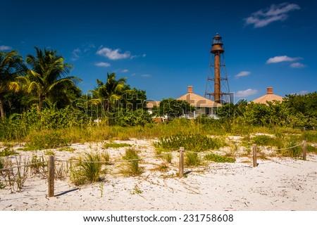 Sanibel Island Lighthouse, in Sanibel, Florida. - stock photo