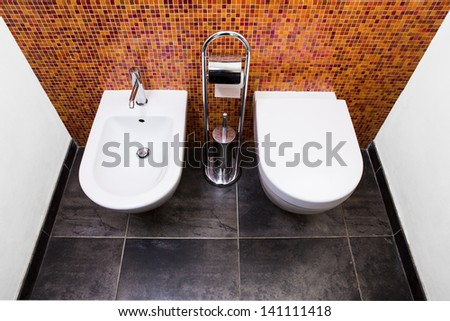 Sanitary of a bathroom with a mosaic wall