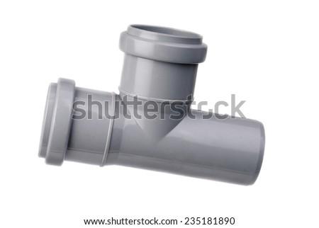 sanitary tee isolated on white  - stock photo