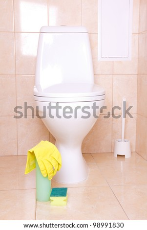 Sanitary tools for cleaning toilet - stock photo