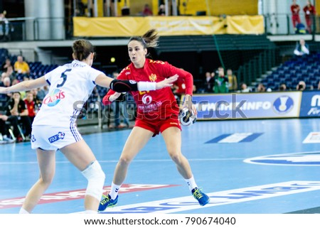 Sanja Premovic from Montenegro in attack during handball game between France vs Montenegro. Final score: 25 - 22 at IHF World Championship, Germany 2017 - Quarter Finals, Leipzig on 12.12.2017