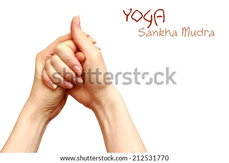 sankha mudra yoga gesture women hands isolated background