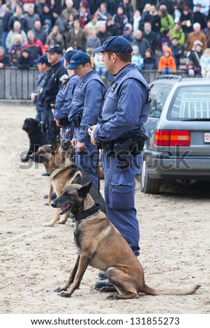 "SANKT GALLEN, SWITZERLAND - OCTOBER 22: Police demonstrates dog training on the agricultural show ""Olma"" on October 22, 2011 in Sankt Gallen, Switzerland"