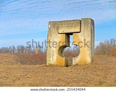 SANKT MARGARETHEN, AUSTRIA - 19  February 2015: Sculptures are displayed in the area of the stone quarry in Sankt Margerethen, Burgenland. Sandstone has been quarried there for about 2000 years.  - stock photo