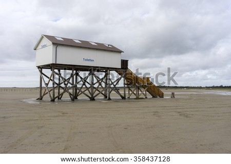Sankt Peter-Ording, Germany - May 13, 2015: A popular German seaside spa resort and a municipality in the district of Nordfriesland, in Schleswig-Holstein, Germany.