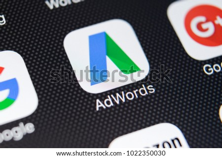 Sankt-Petersburg, Russia, February 11, 2018: Google Adwords application icon on Apple iPhone X screen close-up. Google Ad Words icon. Google Adwords application. Social media network