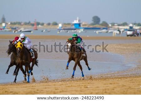 SANLUCAR DE BARRAMEDA, CADIZ, SPAIN - AUGUST 11: Unidentified riders race horses on Sanlucar de Barrameda beach on August 11, 2011 in Sanlucar de Barrameda, Cadiz, Spain. - stock photo