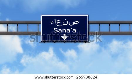 Sanna Yemen Highway Road Sign - stock photo