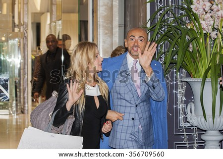 Sanremo, Italy, February 11, 2015: Enzo Miccio wedding planner along with his girlfriend Winehouse