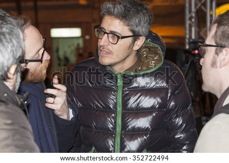 """Sanremo, Italy, 10 February 2015; Pierfrancesco Diliberto, aka Pif, showman and presenter of """"Radio Due"""" to Sanremo during the festival in 2015 - stock photo"""