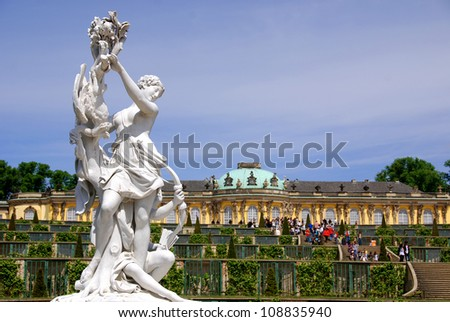 Sanssouci is the name of the former summer palace of Frederick the Great, King of Prussia, in Potsdam, near Berlin. It is often counted among the German rivals of Versailles. - stock photo