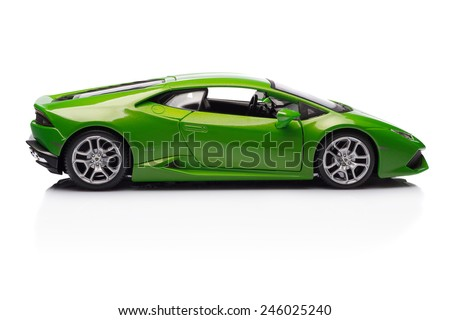 SANT'AGATA BOLOGNESE, BOLOGNA, ITALY - JAN 20 - Toy lamborghini huracan on white background, Tuesday 20 January 2015 - stock photo