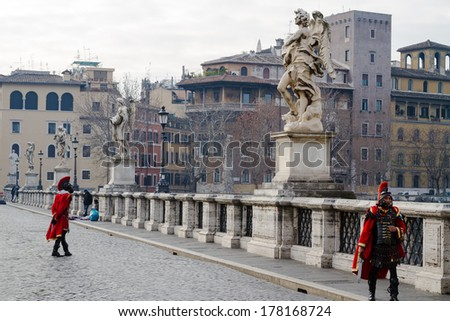 Sant' Angelo Bridge, Rome, Italy - stock photo