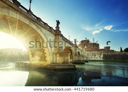 Sant Angelo Castle and Bridge in sunset time, Rome, Italia - stock photo
