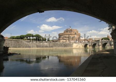 Sant Angelo Castle and Bridge, Rome, Italy - stock photo