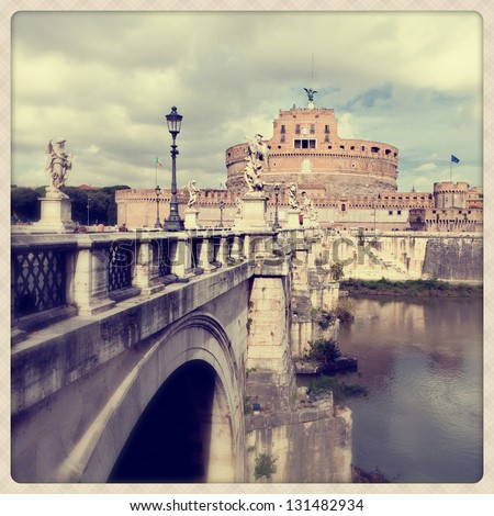 Sant'Angelo Castle in Rome. - stock photo