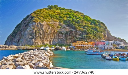 sant angelo, ischia, italy  -llustration based on own photo image - stock photo