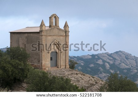 Sant Joan chapel in the mountains of Montserrat Monastery, Santa Maria de Montserrat is a Benedictine abbey located nearby from Barcelona. Catalonia. Spain