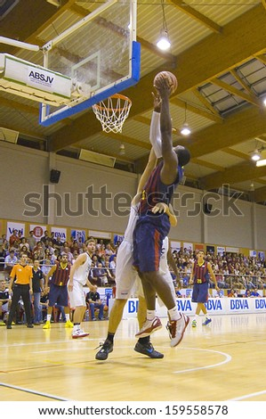 SANT JULIA, SPAIN - SEPTEMBER 8: Joey Dorsey of FCB in action at the friendly match between FC Barcelona and Joventut, final score 60-49, on September 8, 2013, in Sant Julia de Vilatorta, Spain.