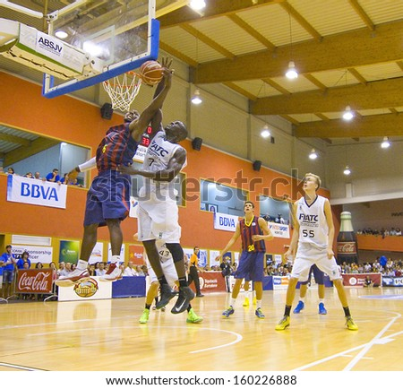 SANT JULIA, SPAIN - SEPTEMBER 8: Joey Dorsey (6) of FCB in action at the friendly match between FC Barcelona and Joventut, final score 60-49, on September 8, 2013, in Sant Julia de Vilatorta, Spain. - stock photo