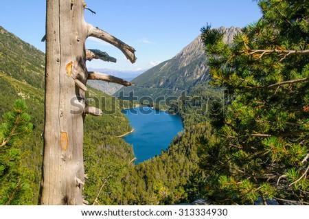 Sant Maurici lake in aiguetortes park catalunya spain - stock photo