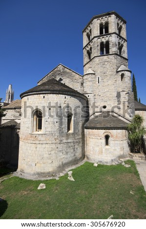Sant Pere de Galligants, Benedictine abbey, Girona, Spain - stock photo