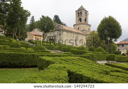 Sant Pere Monastery in Camprodon, Catalonia (Spain). Built in the Romanesque style and the plant seems to Latin, with central apse.