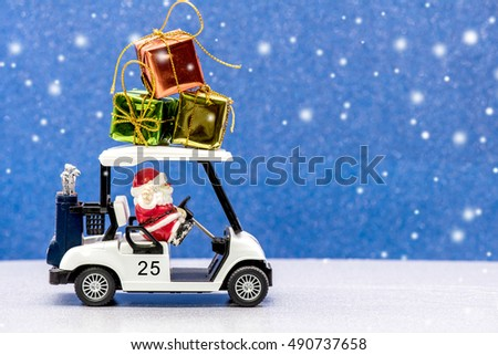 Santa and Christmas, Golf car for celebration
