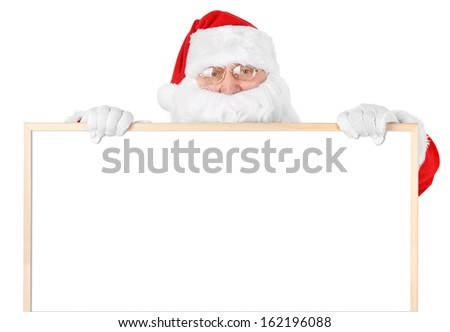 Santa and empty white board over white background - stock photo