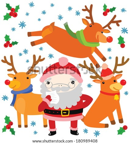 Santa and His Team of Reindeer Jumping Around