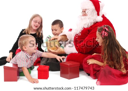 Santa and kids with gifts
