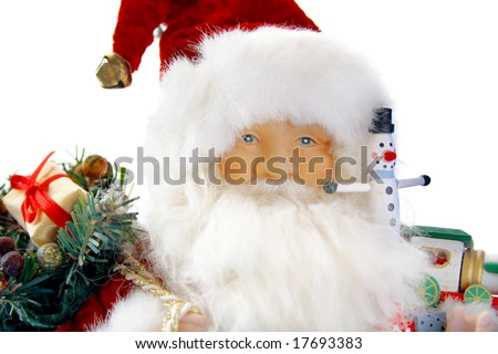 Santa and toys isolated on a white background. - stock photo