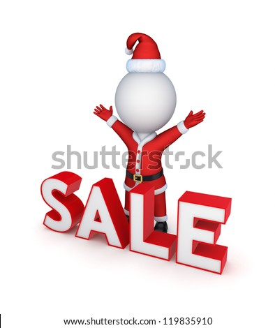 Santa and word SALE.Isolated on white background.3d rendered. - stock photo