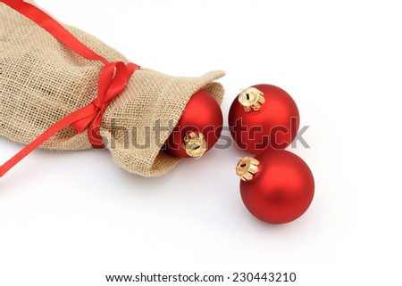 Santa bag with Christmas balls - stock photo