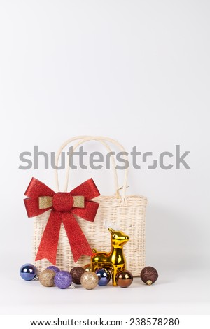Santa bag with reindeer and colorful ball isolated on white - stock photo