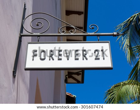 SANTA BARBARA, CA/USA - JULY 26, 2015: Forever 21 store and sign. Forever 21 is an American chain of fashion retailers with headquarters in Los Angeles. - stock photo