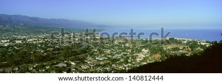 Santa Barbara California and Pacific Ocean with harbor in view - stock photo