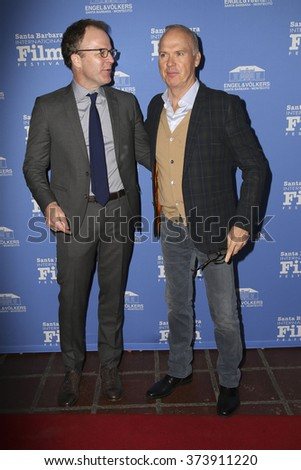 SANTA BARBARA - FEB 5:  Tom McCarthy, Michael Keaton at the 31st Santa Barbara International Film Festival - American Riviera Award at the Arlington Theatre on February 5, 2016 in Santa Barbara, CA