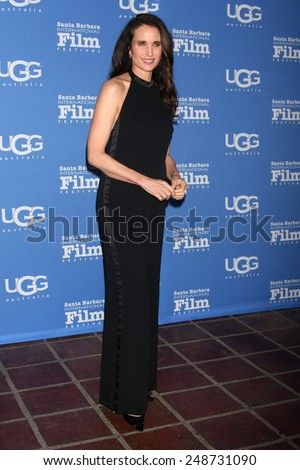 SANTA BARBARA - JAN 31:  Andie MacDowell at the Santa Barbara International Film Festival - Modern Master at a Arlington Theater on January 31, 2015 in Santa Barbara, CA - stock photo