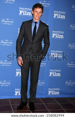 SANTA BARBARA - JAN 29:  Eddie Redmayne at the Santa Barbara International Film Festival - Cinema Vanguard Award at a Arlington Theater on January 29, 2015 in Santa Barbara, CA - stock photo