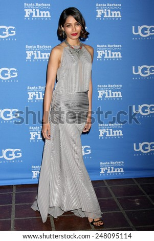 "SANTA BARBARA - JAN 27:  Freida Pinto at the Santa Barbara International Film Festival - US Premiere of ""Desert Dancer"" at a Arlington Theater on January 27, 2015 in Santa Barbara, CA - stock photo"