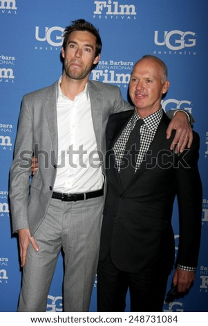 SANTA BARBARA - JAN 31:  Sean Douglas, Michael Keaton at the Santa Barbara International Film Festival - Modern Master at a Arlington Theater on January 31, 2015 in Santa Barbara, CA - stock photo