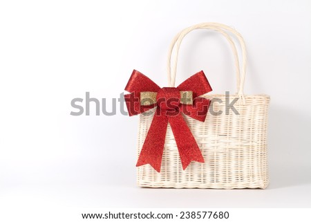 Santa basket isolated on white - stock photo